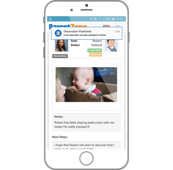 parentzone app gives parents instant updates of their child's activities and development at nursery