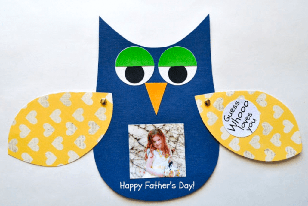 Who loves you owl father's day craft card from connect childcare nursery management software