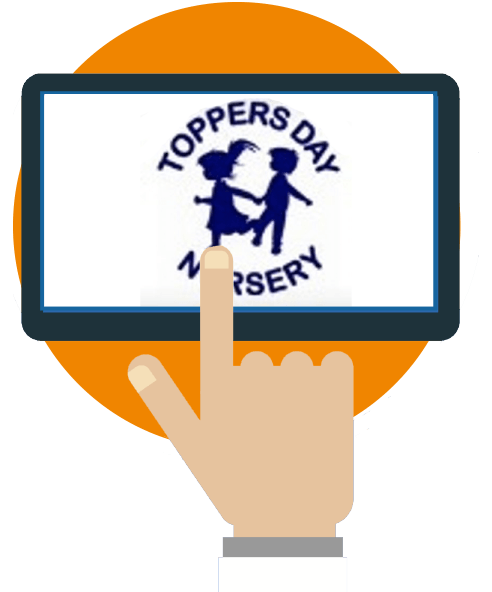 Toppers logo on tablet graphic