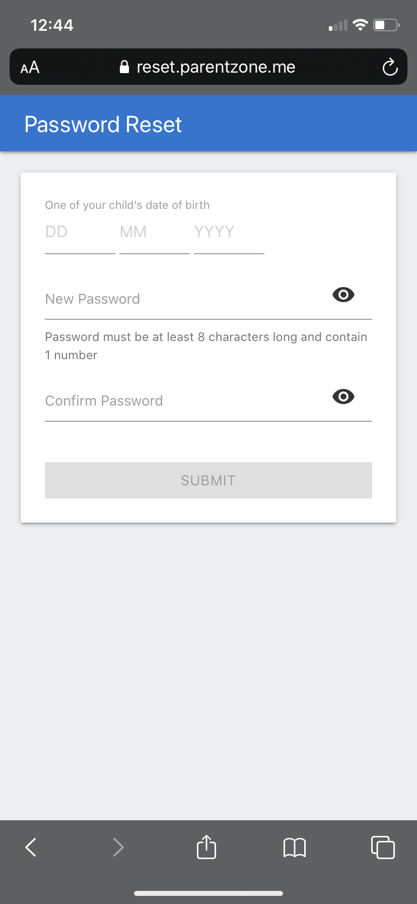 ParentZone Password Reset